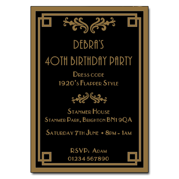 Art Deco Themed Party Invitations