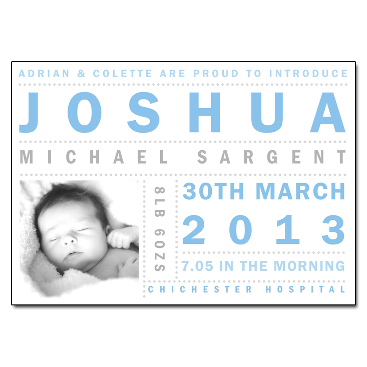 Boy Box Typography birth announcement