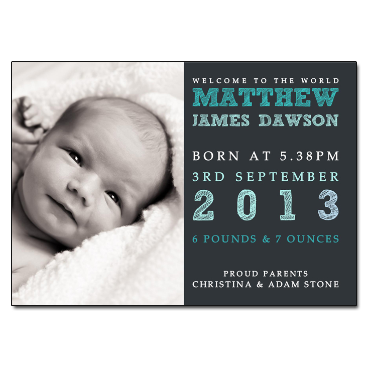 Add Your Own Photo Baby Boy Birth Announcement Card