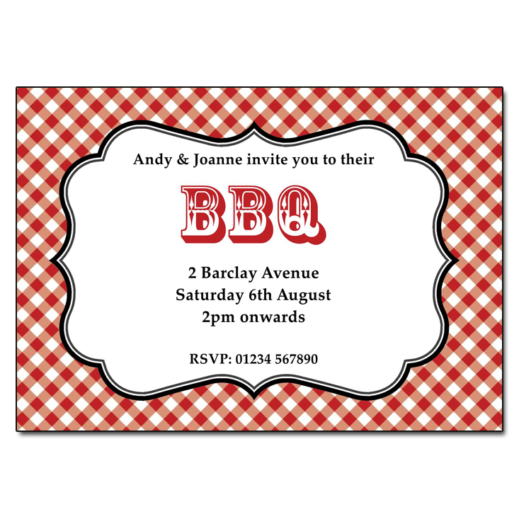 Gingham Barbeque Party Invitations