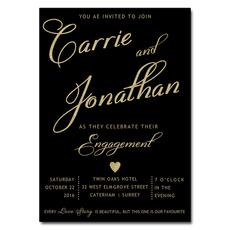 Black gold engagement party invitations for Online engagement party invitations