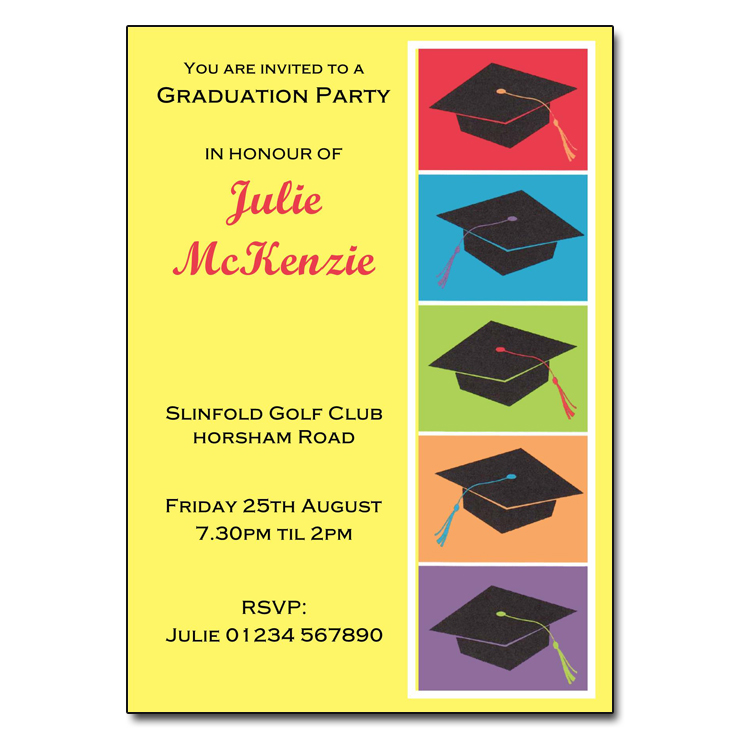 Mortar Hats Graduation Party Invitations