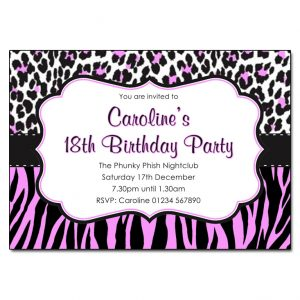 multi animal print party invitation