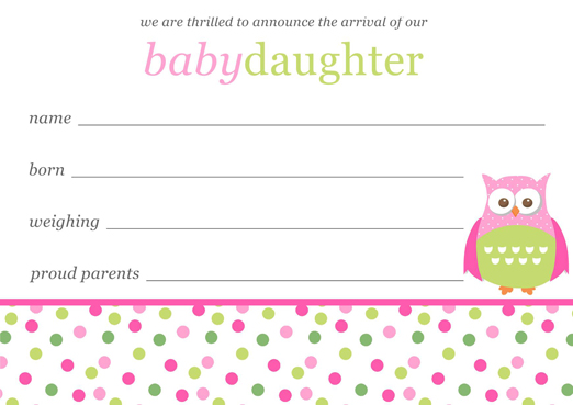 baby birth announcements templates for free - baby girl birth announcements template free download
