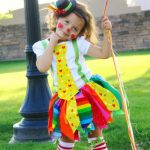 little girl dressed as clown