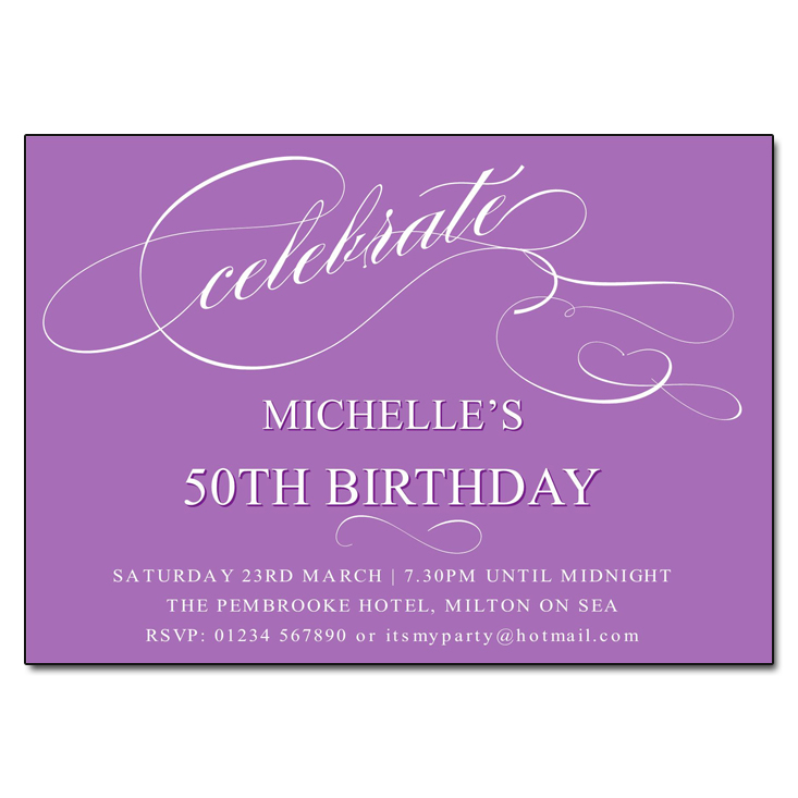 Purple Celebrate Birthday Party Invitations
