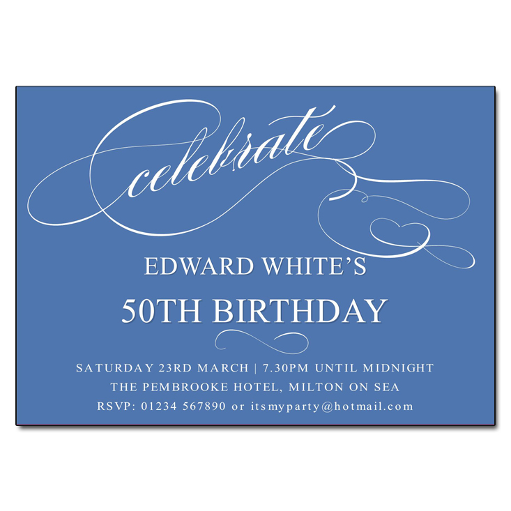 Blue Celebrate Birthday Party Invitations