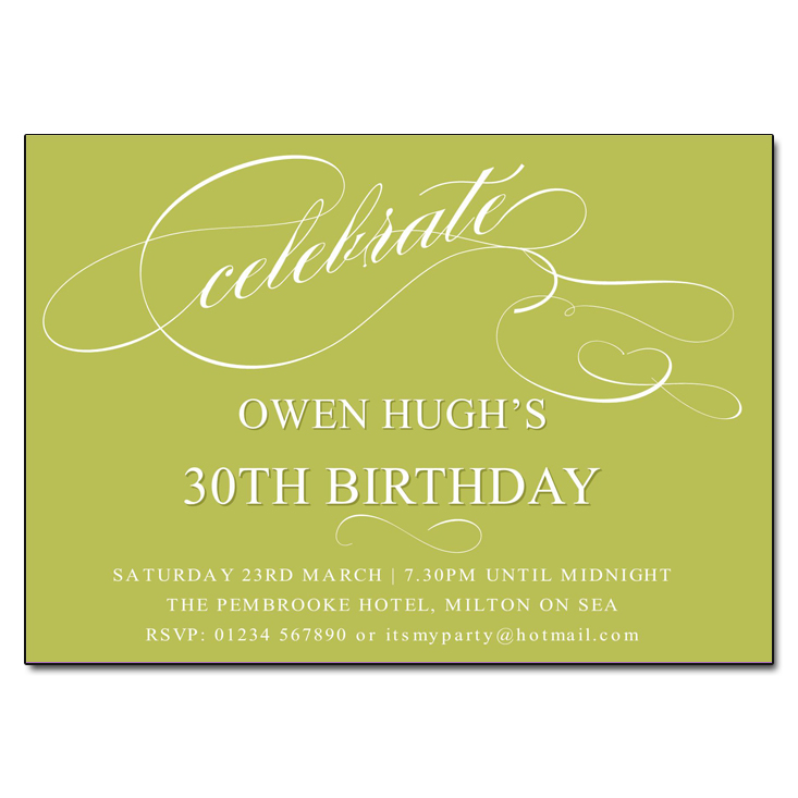Apple Green Celebrate Birthday Party Invitations