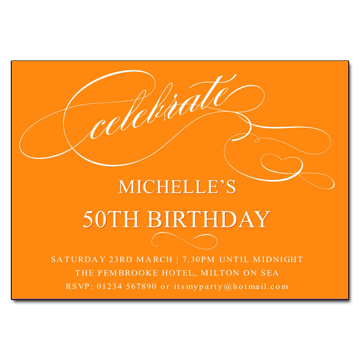 Orange Celebrate Birthday Party Invitations