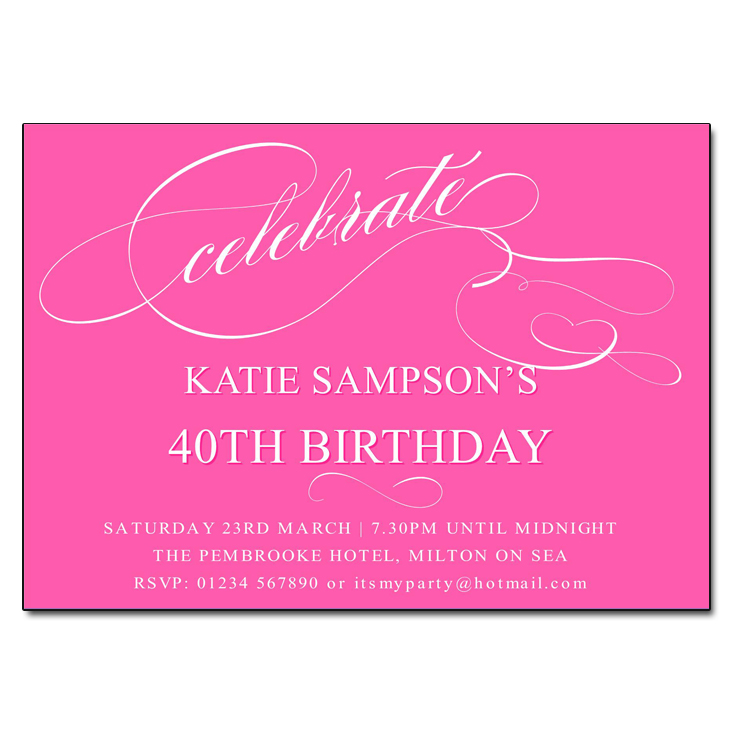 Deep Pink Celebrate Birthday Party Invitations