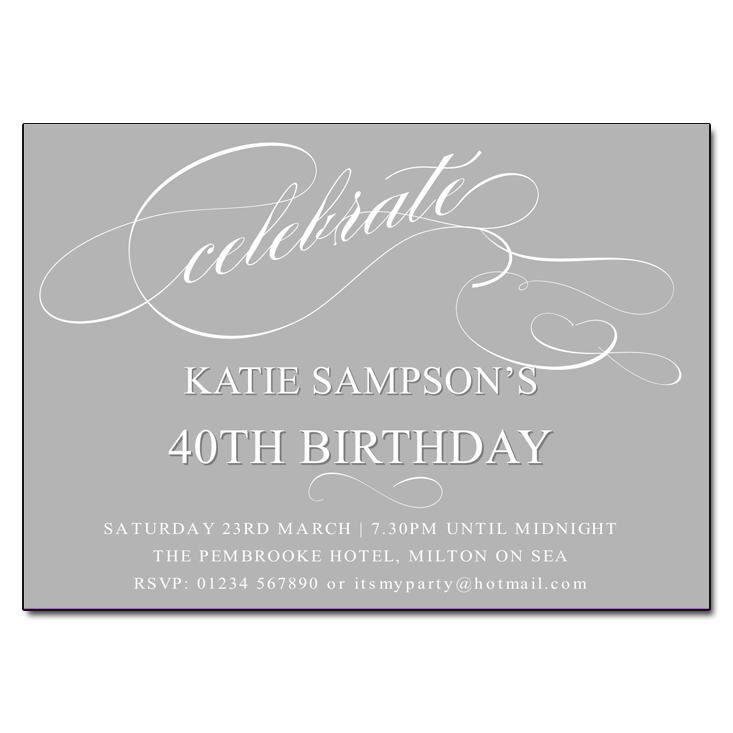 Grey Celebrate Birthday Party Invitations