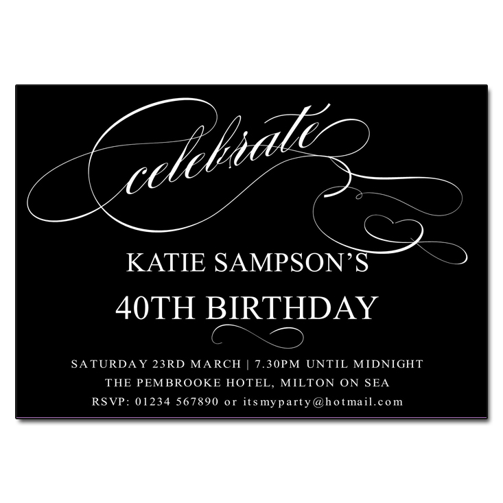 Black and White Celebrate Birthday Party Invitations