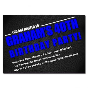 Blue & Black Male Birthday Party Invitations