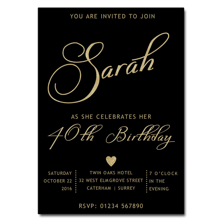 black & gold birthday party invitations