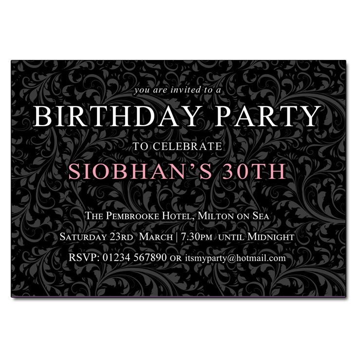 floral background birthday party invitations