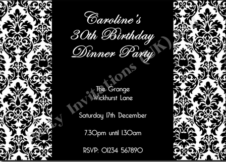 black and white party invite
