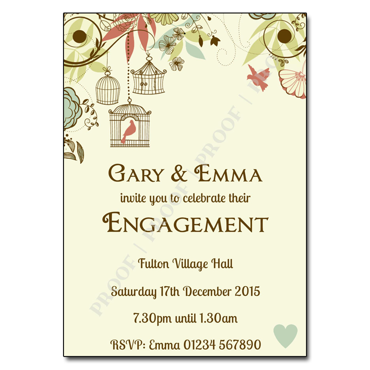 Birdcage Engagement Party Invitations