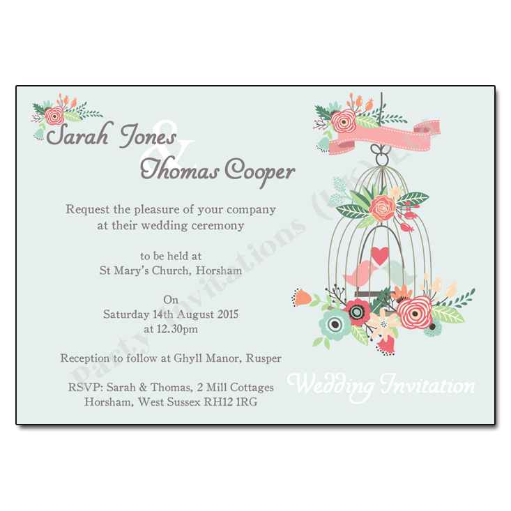 Vintage Birdcage Amp Flowers Wedding Invitation