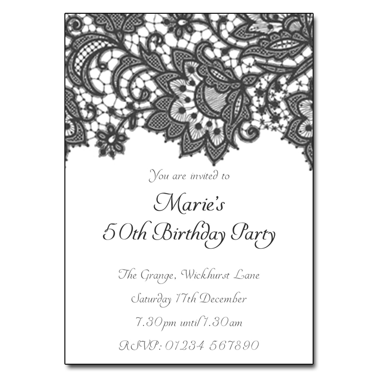 black  u0026 white lace party invitations