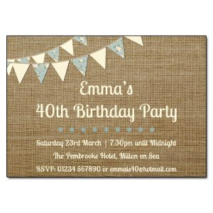 Burlap & Bunting Birthday Party Invitations