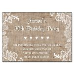 Burlap & Lace Birthday Party Invitations