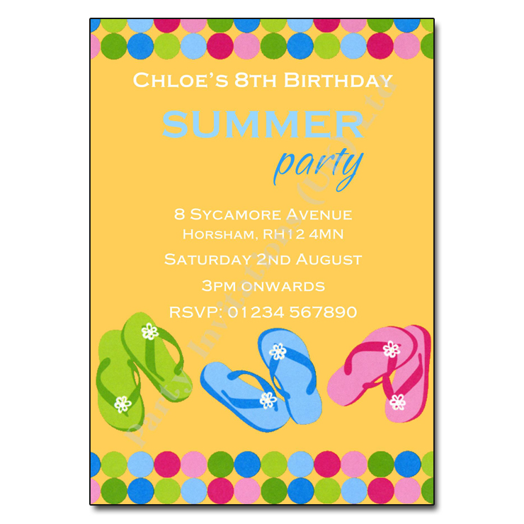 Flip flops party invitations