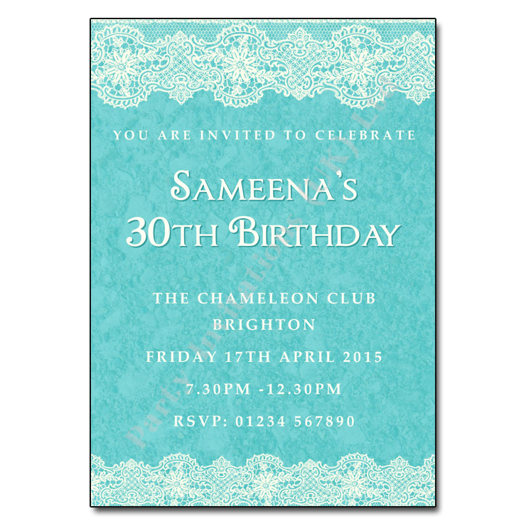 Lace Borders Birthday Party Invitations
