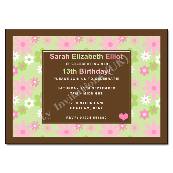 Pink & Green Daisies Birthday Party Invitations